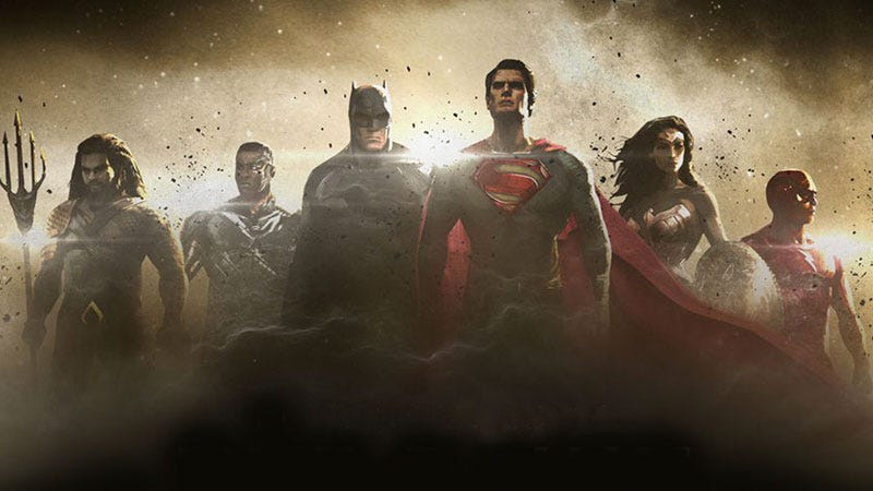 Official concept art of the Justice League, the Flash is on the far right.