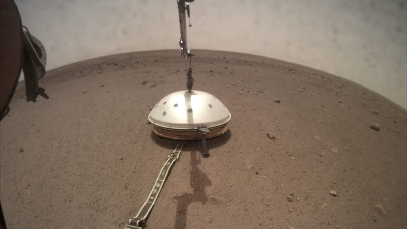 The Wind and Thermal Shield sitting atop InSight's seismometer.