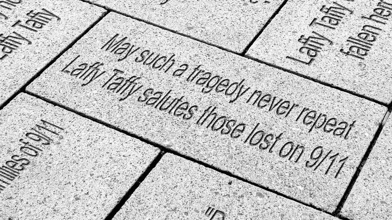 One of the thousands of commemorative Laffy Taffy 9/11 cobblestones.