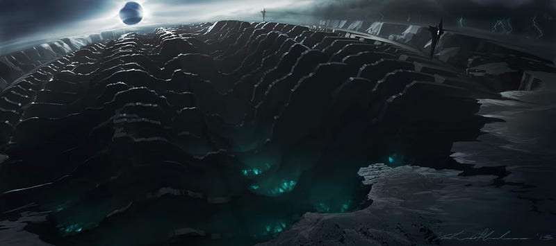 Illustration for article titled Thor concept art shows how cool the Dark Elves' realm could have looked