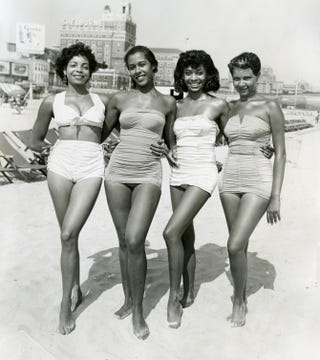 """Atlantic City, Four Women, circa 1960s, by John W. Mosley, from the Virginia Museum of Fine Arts """"Posing Beauty in African American Culture""""exhibitPosing Beauty in African American Culture/Virginia Museum of Fine Arts"""