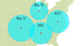 Illustration for article titled See The Big East Get Much Bigger And Much Less Eastern With Conference Realignment Visualizations