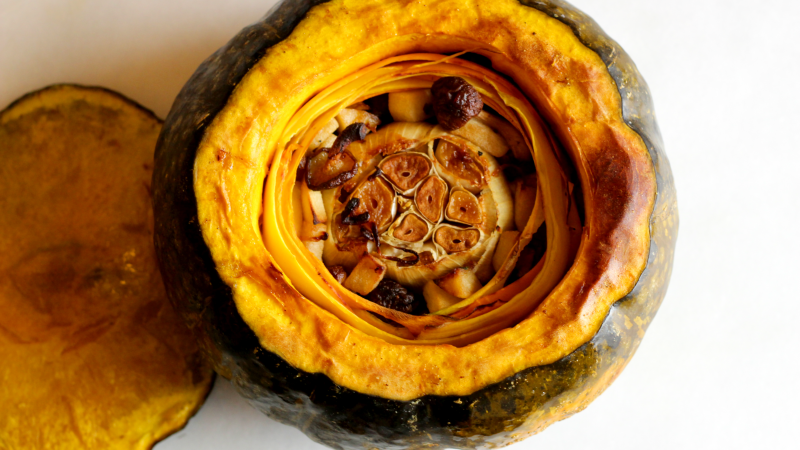 You know, a whole head of roasted garlic and a buncha mushrooms inside a squash. Photos by Claire Lower.