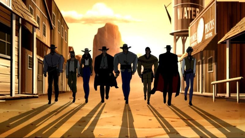 """Illustration for article titled Justice League: """"The Once and Future Thing, Parts 1 & 2: Weird Western Tales and Time, Warped"""""""