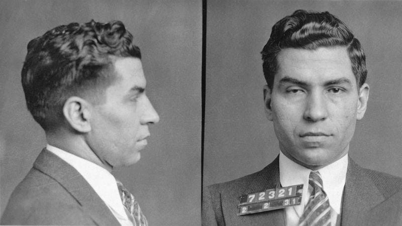 A 1931 mug shot of Lucky Luciano