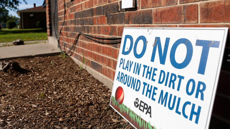 A sign in front of the West Calumet Housing Complex. Photo: AP