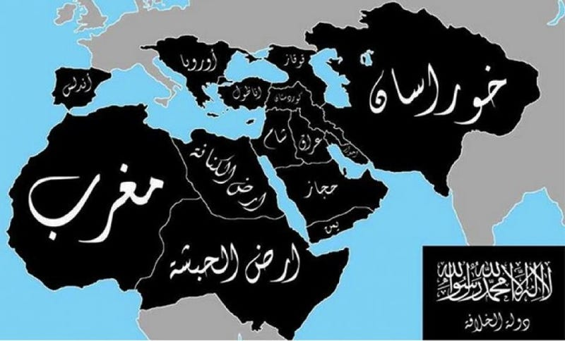 """Illustration for article titled That ISIS """"Caliphate Map"""" Is Bogus, So Stop Freaking Out"""