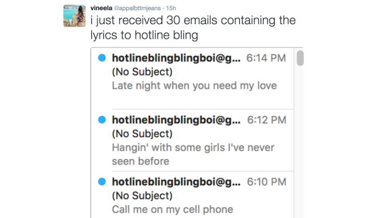 Illustration for article titled University of Michigan Student Body Relentlessly Spammed with 'Hotline Bling' Lyrics