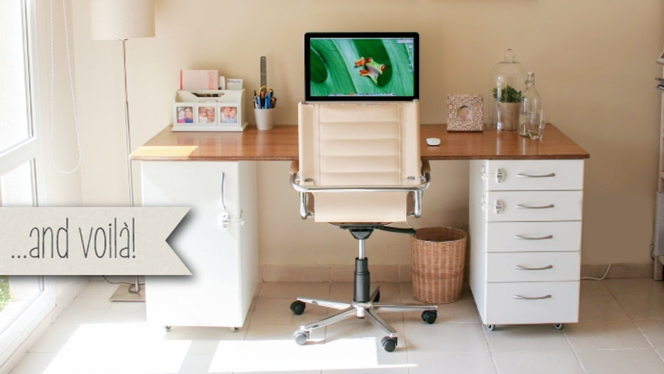this diy office desk is super sturdy built from ikea kitchen parts rh lifehacker com built in desk ikea cabinets built in desk ideas ikea