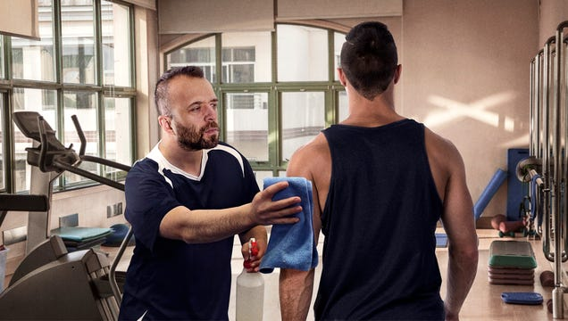 Responsible Gym Member Makes Sure To Wipe Down Personal Trainer After Workout