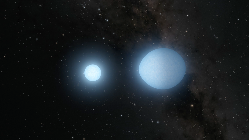 Artist's impression of white dwarf binaries.