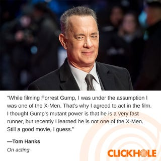 Illustration for article titled Tom Hanks WHAT?!
