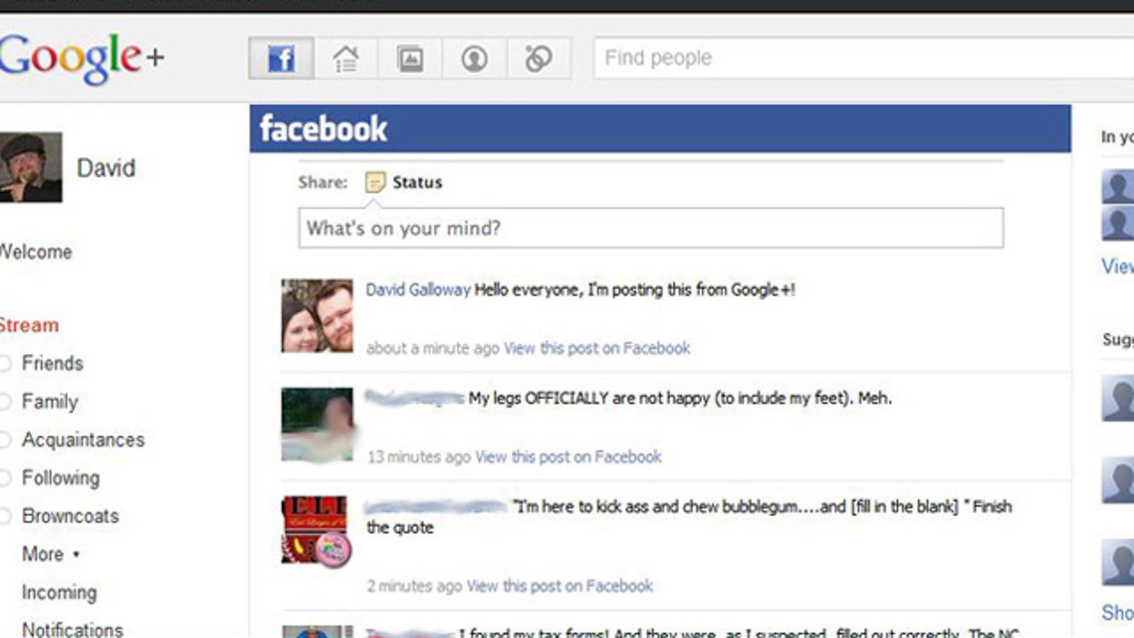 Google+Facebook Extension Integrates Facebook Viewing and Updating