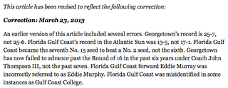 Illustration for article titled A New York Times Story About Georgetown-FGCU Required Some Great Corrections