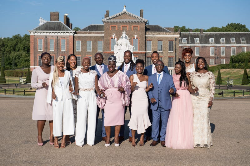 The Kingdom Choir perform conducted by Karen Gibson (6th L) outside Kensington Palace on July 24, 2018 in London, England. The choir, which performed at the Royal Wedding of Prince Harry to Ms. Meghan Markle, announced that they have signed a record deal with Sony Music.