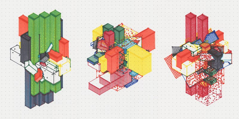 Illustration for article titled These Mutant Buildings Were Generated By Code and Drawn By a Machine