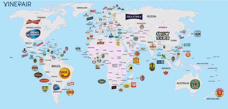 Illustration for article titled Las cervezas más populares en cada país, en un solo mapa