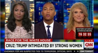 Omarosa Manigault, Don Lemon and Kellyanne Conway on CNN Tonight With Don Lemon on March 25, 2016.CNN screenshot