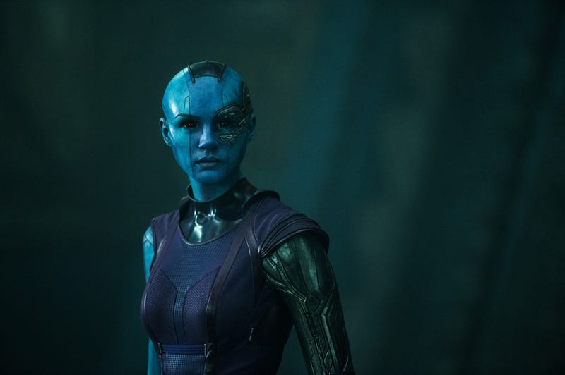 Illustration for article titled Karen Gillan Looks stunning as Nebula in new Guardians of the Galaxy still