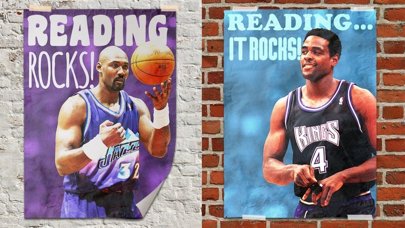 A Karl Malone poster and a Chris Webber poster side-by-side.