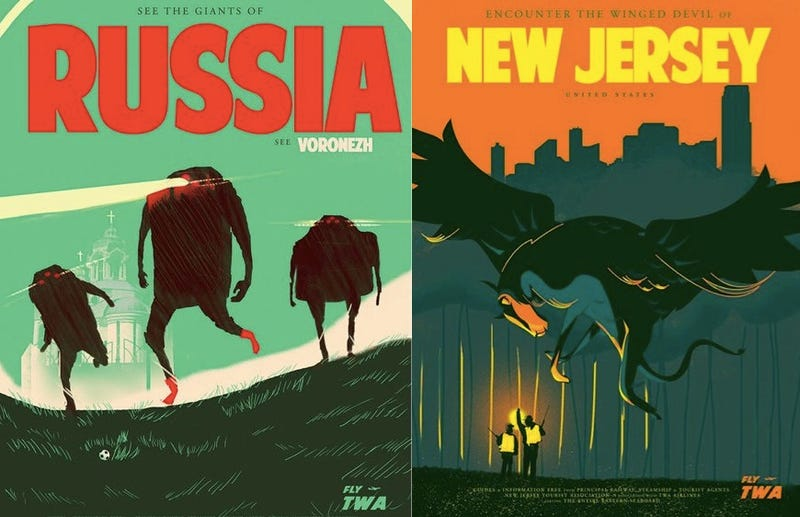 Illustration for article titled Vintage travel posters show off the world's most thrilling monsters