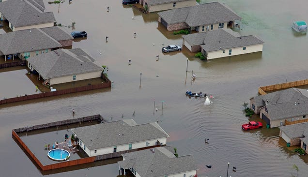An aerial photo of Hammond, Louisiana on Saturday. Image: AP