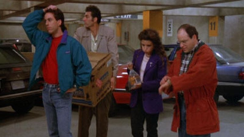 "Illustration for article titled Seinfeld: ""The Parking Garage""/""The Cafe""/""The Tape"""