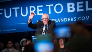 Democratic presidential candidate Sen. Bernie Sanders (I-Vt.) speaks at a rally in the Exeter Town Hall on Feb. 5, 2016, in New Hampshire.Andrew Burton/Getty Images