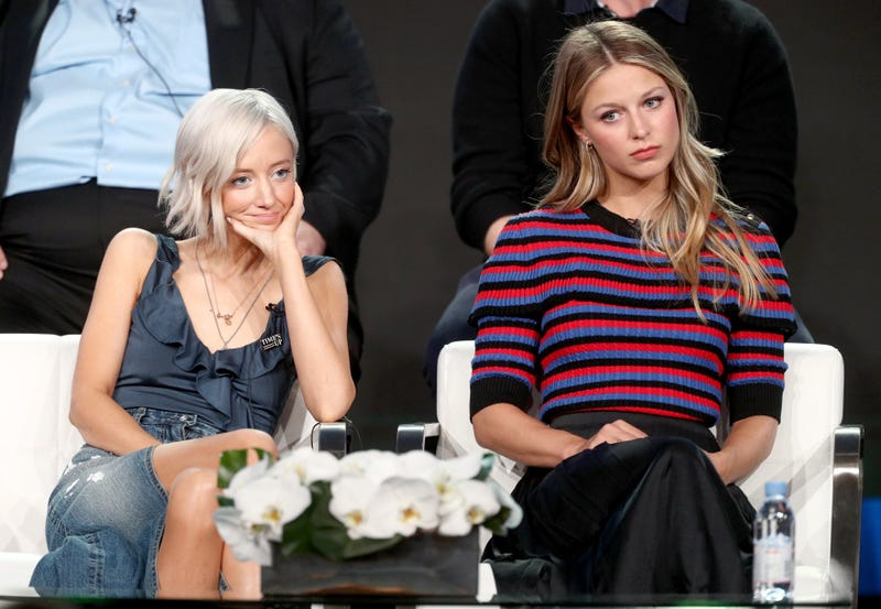 Andrea Riseborough  and Melissa Benoist at the Waco panel during the 2018 Winter Television Critics Association Press Tour (Photo by Frederick M. Brown/Getty Images)
