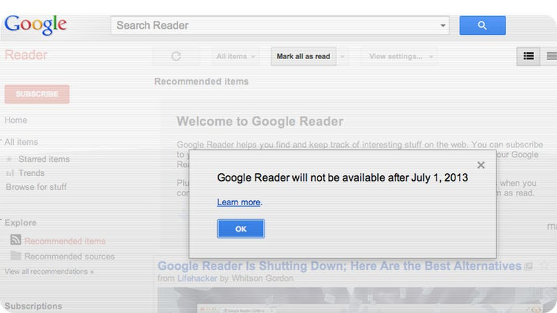 Illustration for article titled Google Shut Down Reader Because It Was Scared of More Screw-Ups