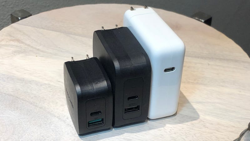 From left to right: RAVPower 18W USB-C PD Charger | RAVPower 61W USB-C PD Charger | Apple 61W USB-C PD Charger