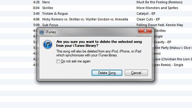 how to delete songs from library in itunes