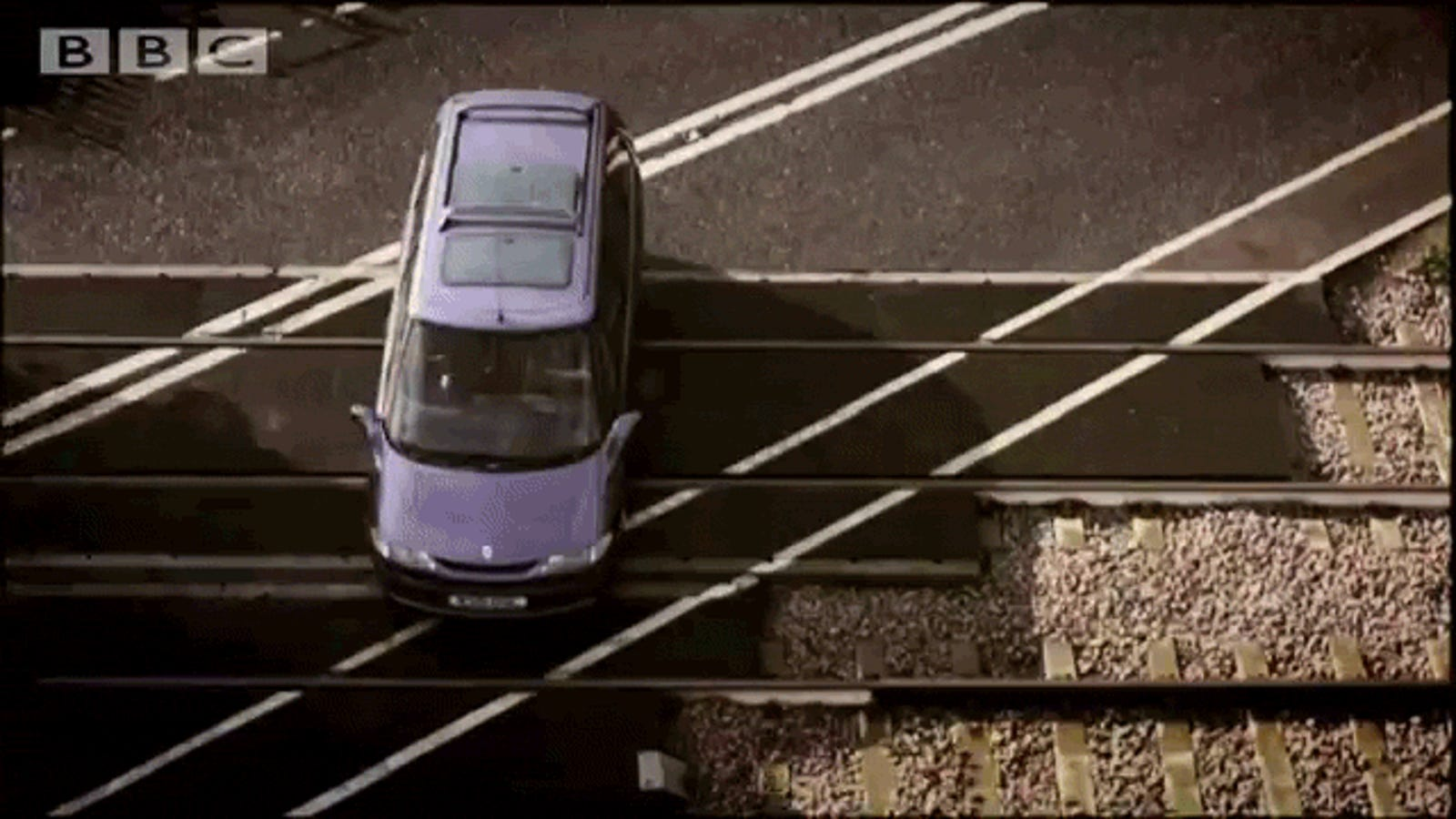 Watch a TV show use a train to completely obliterate a car