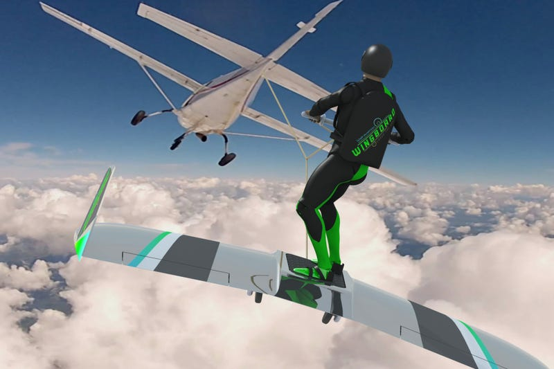 Illustration for article titled Wingboarding Could Be The Next Extreme Sport For Batshit Insane People
