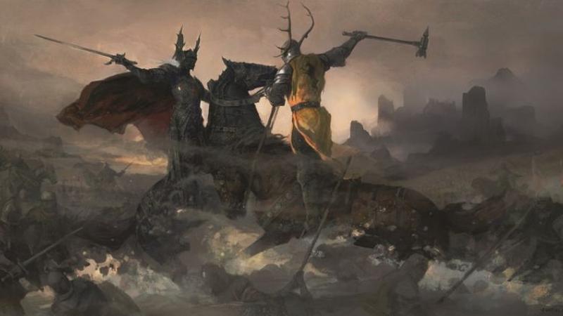 Robert Baratheon vs. Rhaegar Targaryen, by artist Justin Sweet. Image used in The World of Ice and Fire, from Bantam Books.
