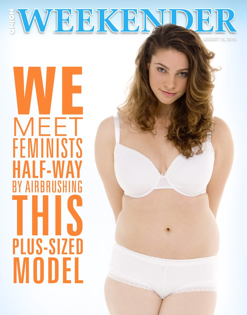 Illustration for article titled We Meet Feminists Halfway By Airbrushing This Plus-Size Model
