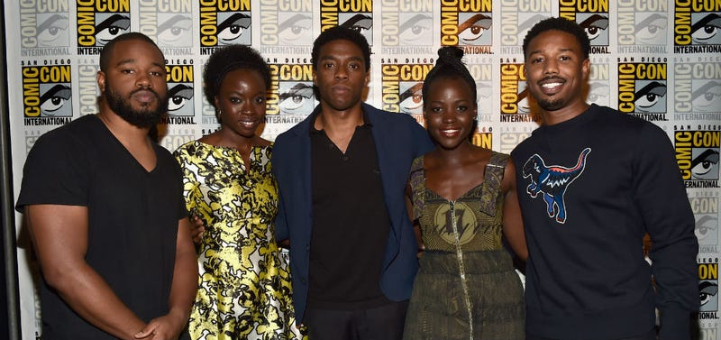 Black Panther director Ryan Coogler, with Danai Gurira, Chadwick Boseman, Lupita Nyong'o and Michael B. Jordan at Comic-Con. Image: Disney