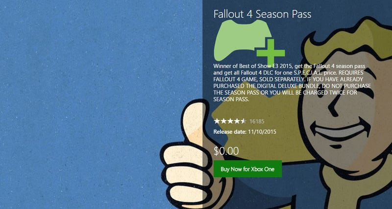 Illustration for article titled Fallout 4 Accidentally Goes Free On Xbox Store (Update)