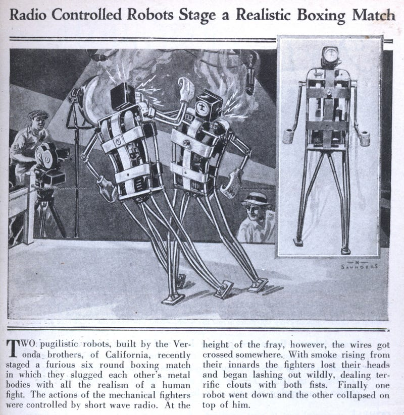 Illustration for article titled Underground robot boxing matches have been around for 80 years