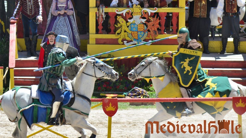 Illustration for article titled Jousting Is Great And All, But There's Got To Be A Better Way For Us To Entertain Ourselves That Doesn't Involve Riding A Horse Full-Speed Into Someone And Then Getting Hit By A Huge Wooden Stick