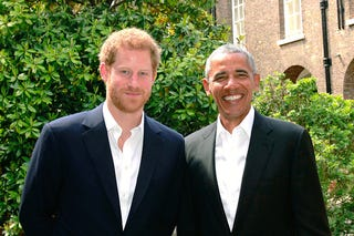 Prince Harry and former President Barack Obama in London on May 27, 2017 (Kensington Palace via Getty Images)