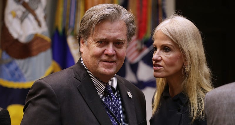 Steve Bannon, a man who once favorably compared himself to Darth Vader, Dick Cheney, and Satan, speaks with Kellyanne Conway on January 31, 2017 (Photo by Chip Somodevilla/Getty Images)