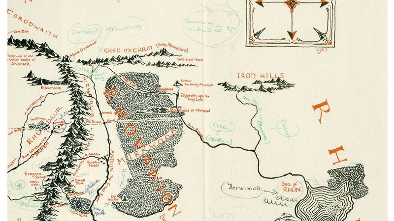 Illustration for article titled Rare, Tolkien-annotated map of Middle Earth found tucked inside old book