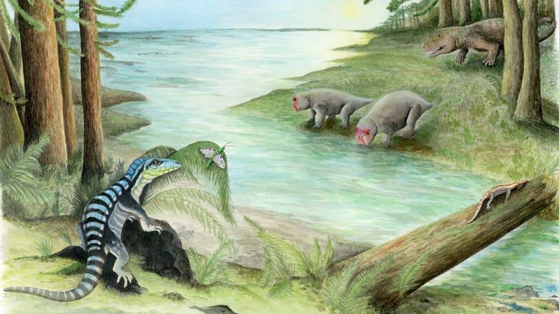 Artist's depiction of Antarctanax shackleton (left). Across the stream, a large archosaur stalks a pair of unsuspecting dicynodonts.