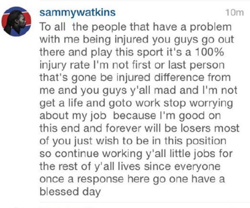 Illustration for article titled Sammy Watkins Is Sorry For Calling His Detractors Losers