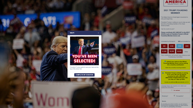 Trump's PAC Site Tricks Donors Into Recurring Charges With 'Happy Birthday' Dark Patterns