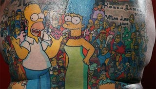 Illustration for article titled Man Has 203 Simpsons Characters Tattooed On His Back