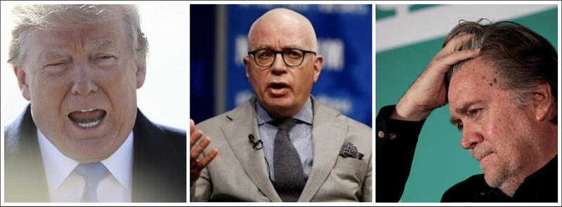 Donald Trump (Win McNamee/Getty Images); Michael Wolff (Carolyn Kaster/AP Images); Steve Bannon (Drew Angerer/Getty Images)