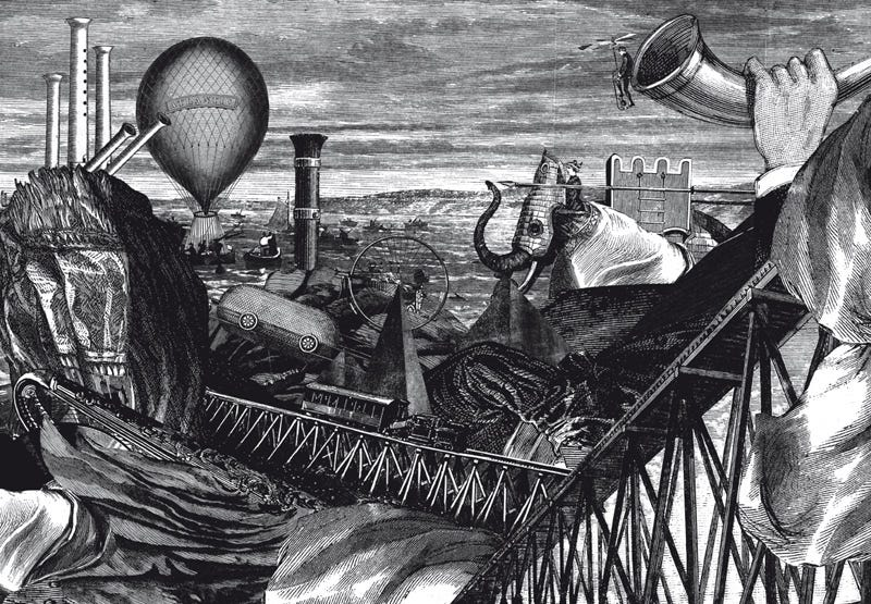 Illustration for article titled A Future of Hot Air Balloons and Giant Elephant Robots