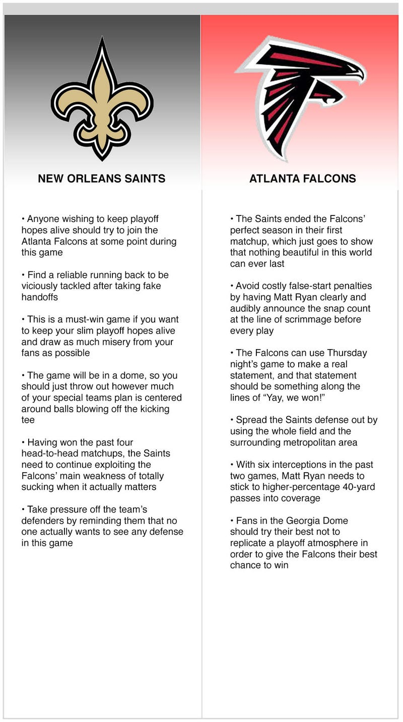 Illustration for article titled Saints vs. Falcons